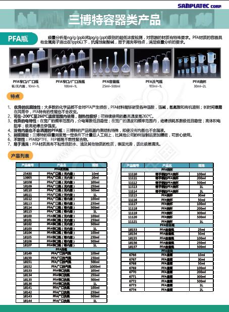 三博特(R)PFA广口瓶