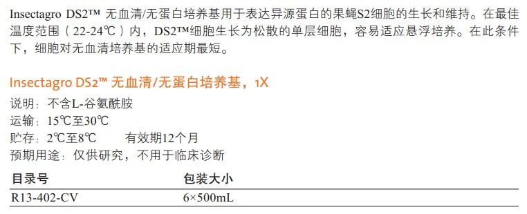 Insectagro DS2™无血清/无蛋白培养基                                                        美国Cellgro                                                        货号: