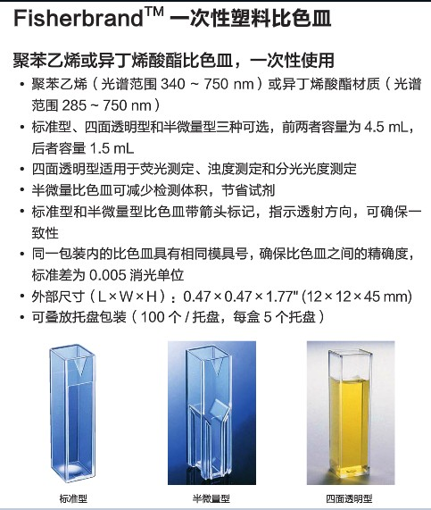 fisher 一次性比色皿 标准型异丁烯酸酯塑料比色皿4.5mL