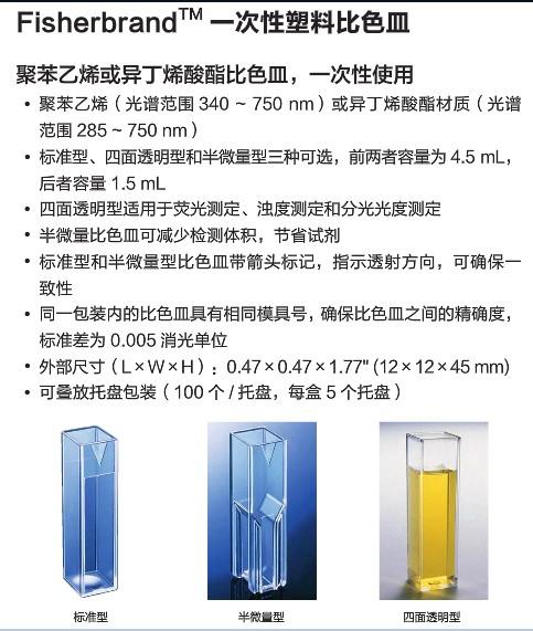 一次性比色皿 4.5mL fisher PS 塑料比色皿 四面透明  现货